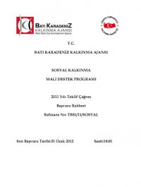 Batı Karadeniz Kalkınma Ajansı 2011 Sosyal MDP Başvuru Rehberi
