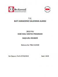 Batı Karadeniz Kalkınma Ajansı 2013 Kobi MDP Başvuru Rehberi